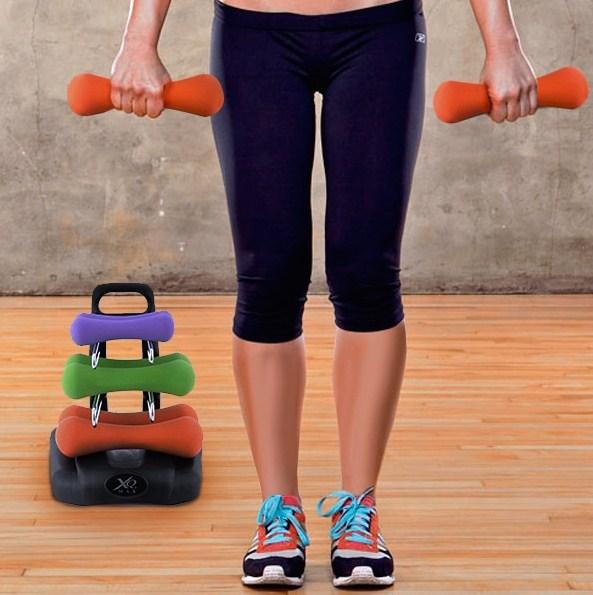 Set utega za fitness sa stalkom
