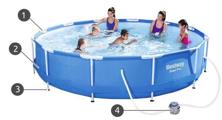 Bestway bazen 366X76cm - čelična konstrukcija